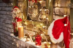 Christmas decorations. Christmas home and interior decorations. Colorful cosy Christmas lights stock photography