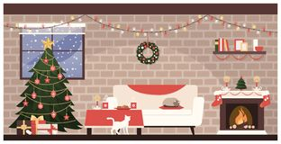 Christmas home interior. Traditional home interior at Christmas with decorated tree, gifts and sweets on the table Stock Image