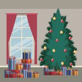 Christmas home scene with window background and big christmas tree and gifts. Vector illustration Stock Photography