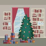 Christmas home scene with window background and bookshelf of books and christmas tree and gifts. Vector illustration Royalty Free Stock Images
