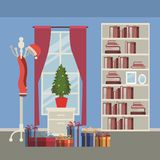Christmas home scene with window background and bookshelf of books with small christmas tree in pot over table and gifts. Vector illustration Stock Images