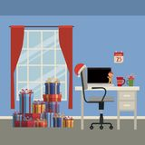 Christmas home scene with window background and office workplace with laptop and gifts. Vector illustration Royalty Free Stock Photo