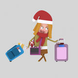 Christmas homecoming. Young girl  with suitcases. 3D Royalty Free Stock Photo
