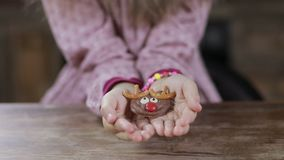 Christmas homemade cookie in child`s hands stock video footage