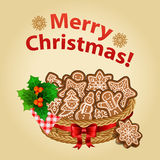 Christmas homemade cookie with Christmas decorations. Traditional christmas dessert. Vector illustration royalty free illustration