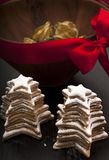 Christmas homemade cookies with decorative bowl close-up Stock Photography