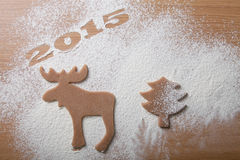 Christmas homemade cookies in the form of a moose and a Christma Stock Photography