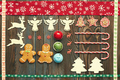 Christmas homemade decoration flat lay Stock Photography