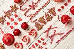Christmas homemade decoration flat lay Royalty Free Stock Images