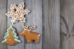 Christmas homemade gingerbread- christmas tree, snowflake and reindeer Stock Photo