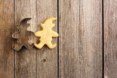 Christmas homemade gingerbread cookie. Over wooden table Stock Photos
