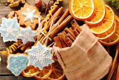 Christmas homemade gingerbread cookie and spices Royalty Free Stock Photo