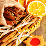Christmas homemade gingerbread cookie and spices Stock Photos