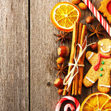 Christmas homemade gingerbread cookie and spices Stock Images