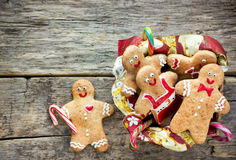 Christmas homemade gingerbread cookies decorated colored icing f Stock Photos