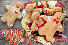 Christmas homemade gingerbread cookies decorated colored icing f Stock Photography