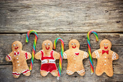 Christmas homemade gingerbread cookies decorated colored icing w Royalty Free Stock Photography