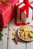 Christmas homemade gingerbread cookies and gifts Royalty Free Stock Photography