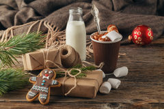 Christmas homemade gingerbread cookies and hot chocolate. Christ Royalty Free Stock Image