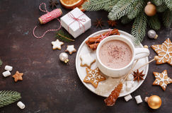 Christmas homemade gingerbread cookies and hot chocolate Royalty Free Stock Photo