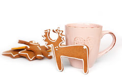 Christmas homemade gingerbread cookies, hot chocolate Royalty Free Stock Image