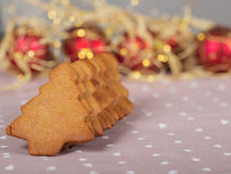 Christmas homemade gingerbread cookies on linen. With xmas lights stock photos