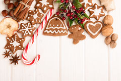 Christmas homemade gingerbread cookies,spice and decoration royalty free stock photo