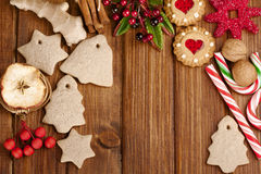 Christmas homemade gingerbread cookies,spice and decoration over Stock Photo