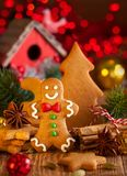 Christmas homemade gingerbread cookies a stock image