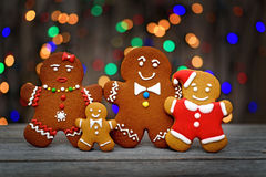 Christmas homemade gingerbread cookies on table Royalty Free Stock Images