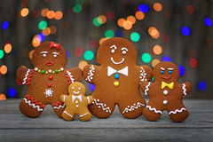 Christmas homemade gingerbread cookies on table Stock Photos