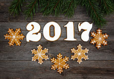 Christmas homemade gingerbread cookies on table, new year 2017 Stock Photos