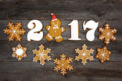 Christmas homemade gingerbread cookies on table, new year 2017 Royalty Free Stock Image