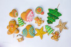 Christmas homemade gingerbread cookies on a white background. Stock Image