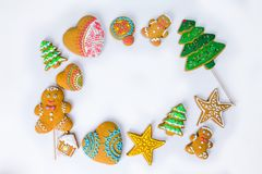 Christmas homemade gingerbread cookies on a white background. Royalty Free Stock Photos