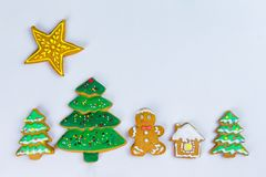 Christmas homemade gingerbread cookies on a white background. Stock Photo
