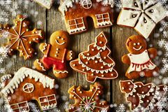 Christmas homemade gingerbread cookies. On wooden table Royalty Free Stock Images
