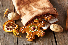 Christmas homemade gingerbread cookies Royalty Free Stock Photos