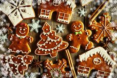 Christmas homemade gingerbread cookies. On wooden table Royalty Free Stock Photos