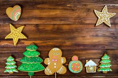 Christmas homemade gingerbread cookies on wooden table Stock Image