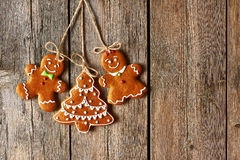 Christmas homemade gingerbread couple cookies Stock Images