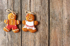 Christmas homemade gingerbread couple cookies Stock Photography