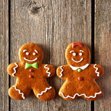 Christmas homemade gingerbread couple cookies Royalty Free Stock Photos