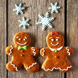 Christmas homemade gingerbread couple cookies Royalty Free Stock Photo