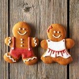 Christmas homemade gingerbread couple cookies Stock Photos