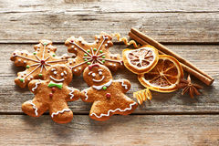 Christmas homemade gingerbread couple cookies Royalty Free Stock Image
