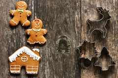 Christmas homemade gingerbread couple cookies Royalty Free Stock Images