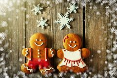Christmas homemade gingerbread couple cookies royalty free stock photography