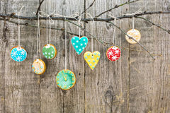Christmas homemade gingerbread decoration on a tree branch Stock Image