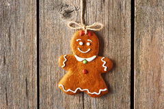 Christmas homemade gingerbread girl cookie Stock Photography